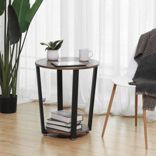 Round End Table Industrial Rustic Side Table 2 Shelves - Plugsusa