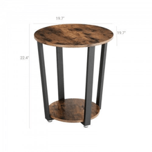 Load image into Gallery viewer, Round End Table Industrial Rustic Side Table 2 Shelves - Plugsusa