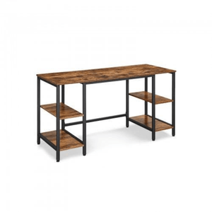 Rustic Computer Desk with 4 Shelves - Plugsusa
