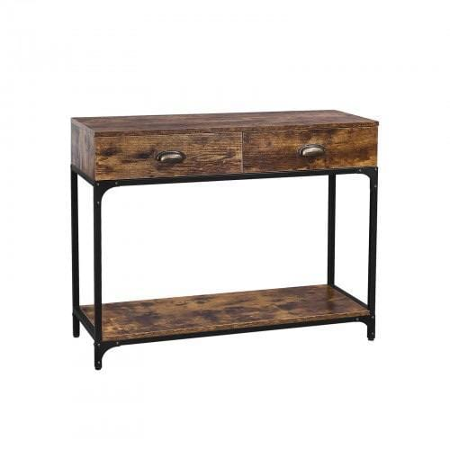 Rustic Console Table Entryway Sofa Table with 2 Drawers and Shelf - Plugsusa