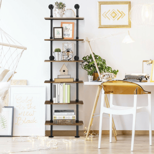 Rustic Vintage Industrial Pipe Wall Shelf 6 Tier - Bookshelf - Plugsusa