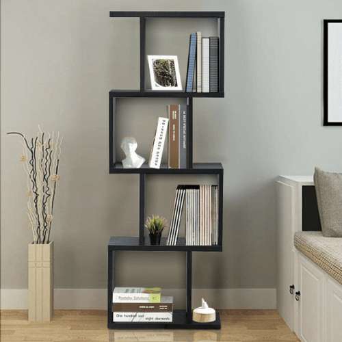 S-Shaped Bookcase Free Standing Storage Rack Wooden - Plugsusa