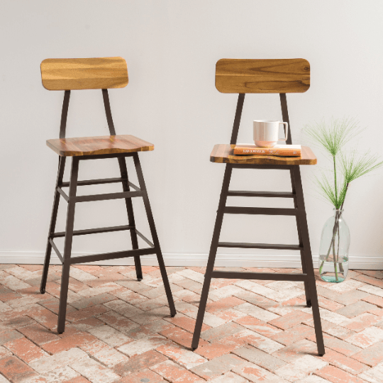 Set of 2 Natural Acacia Wood Bar stool - Plugsusa