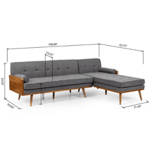 Load image into Gallery viewer, Sofa Mid Century Sectional Style Modern L Shaped With Walnut Details - Plugsusa