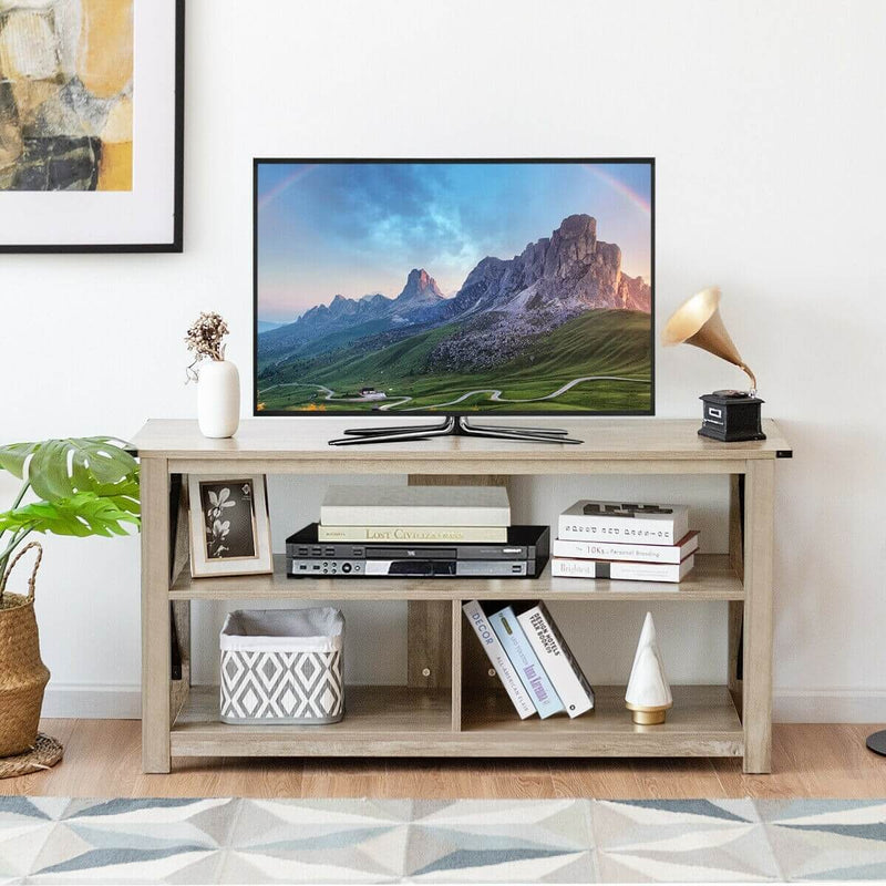 "TV Stand Modern Farmhouse with Open Shelves for TV's up to 55"" - Plugsus Home Furniture"
