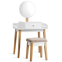 Load image into Gallery viewer, Vanity Wooden Makeup Dressing with Mirror and Stool - Plugsusa