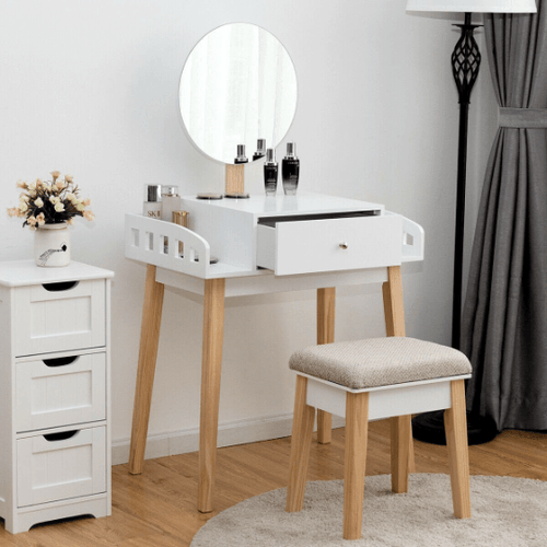 Vanity Wooden Makeup Dressing with Mirror and Stool - Plugsusa
