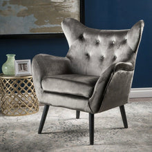 Load image into Gallery viewer, Velvet Tufted Wingback Armchair - Plugsusa