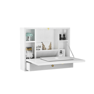 Wall Mounted Folding Laptop Desk Hideaway Storage with Drawer - Plugsusa
