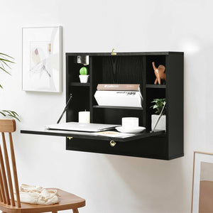 Wall Mounted Folding Laptop Desk Hideaway Storage with Drawer - Plugsus Home Furniture