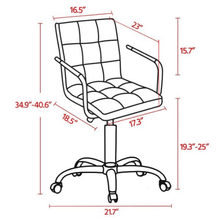 Load image into Gallery viewer, White Desk Chair Height Adjustable PU Leather Stylish - Plugsusa