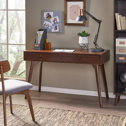 Wooden Rustic Office Desk with 2 Drawers - Plugsus Home Furniture
