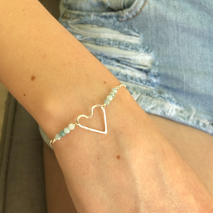 Wonky Heart Bracelet with Aquamarine