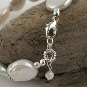 Coin Pearl And Sterling Silver Bracelet