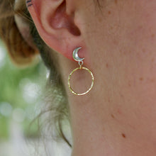 Load image into Gallery viewer, Gold Filled and Sterling Silver Moon Phase Earrings