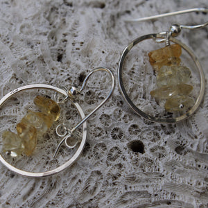 Full Moon Earrings with Tumbled Citrine