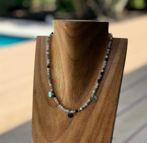 Glimmer Disc Necklace with Amazonite and Pyrite
