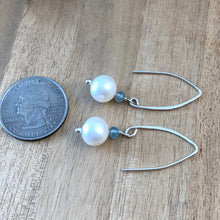 Load image into Gallery viewer, Surf Swell Pearl and Apatite Earrings