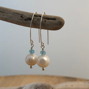 Surf Swell Pearl and Apatite Earrings