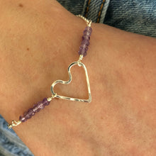 Load image into Gallery viewer, Wonky Heart Bracelet with Amethysts