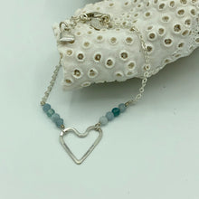 Load image into Gallery viewer, Wonky Heart Bracelet with Aquamarine