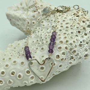 Wonky Heart Bracelet with Amethysts