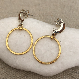 Gold Filled and Sterling Silver Moon Phase Earrings
