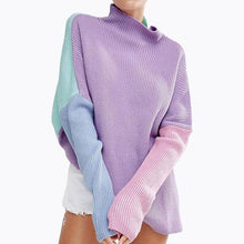 Load image into Gallery viewer, Violet - Pastel Color Block Oversized Sweater