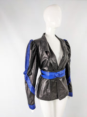 Puffed sleeve vintage leather jacket from the 80s.