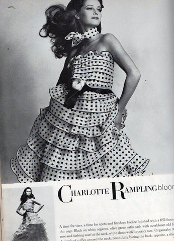 Vintage Chanel Polka Dot Organza Dress, Photo by David Bailey for Vogue March 1972