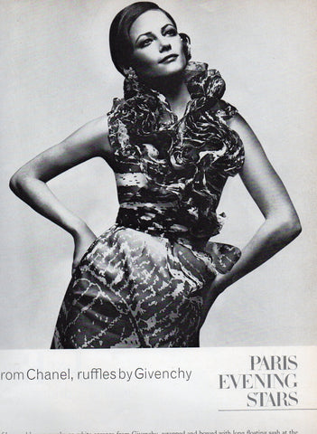Vintage Bronze and White Givenchy dress, Photo by David Bailey for Vogue March 1972