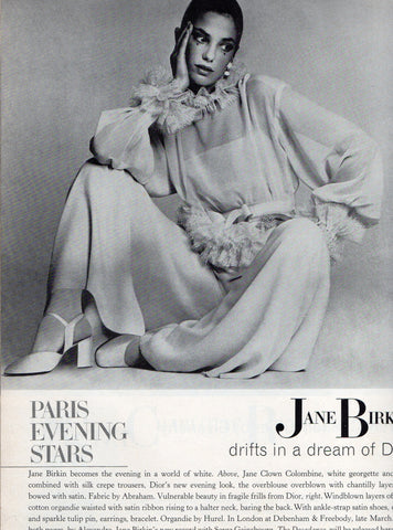 Vintage Silk Dior Blouse with ruffles and matching silk crepe pants by Dior. Photo by David Bailey for Vogue - March 1972