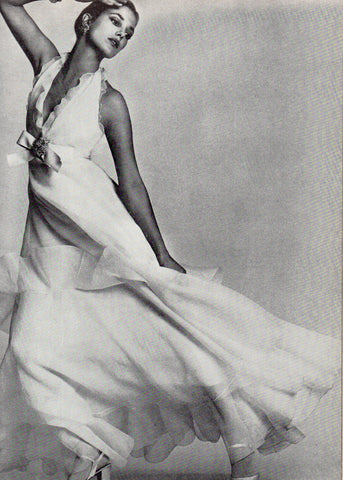 Vintage Christian Dior Frilled Dress by Marc Bohan. Photo by David Bailey for Vogue, March 1972.