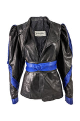Jean Claude Jitrois Blue & Black Leather Womens Jacket from the 1980s.