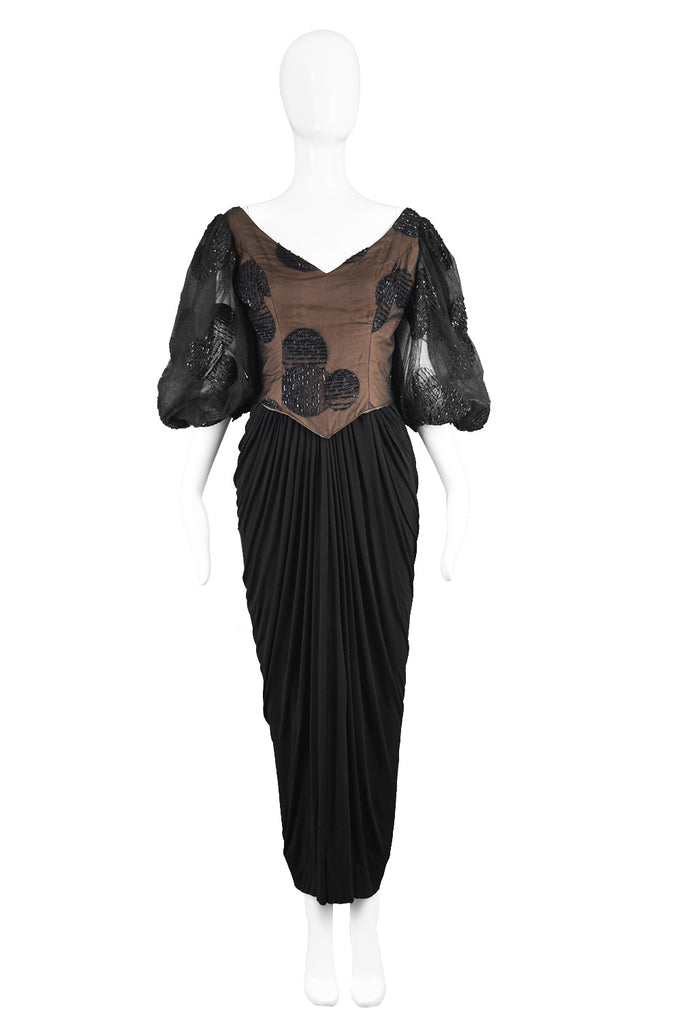 Vintage Beaded Tulle & Jersey Evening Dress, 1980s