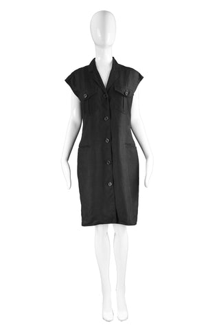 Black Linen Shift Dress, 1990s