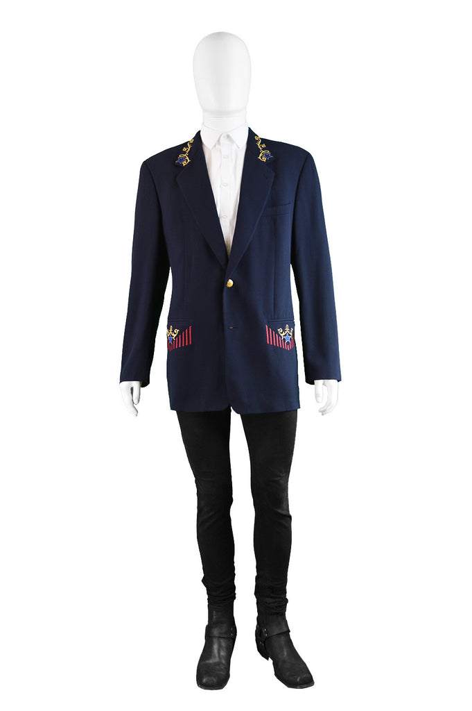 Men's vintage Byblos blazer Jacket with embroidery details