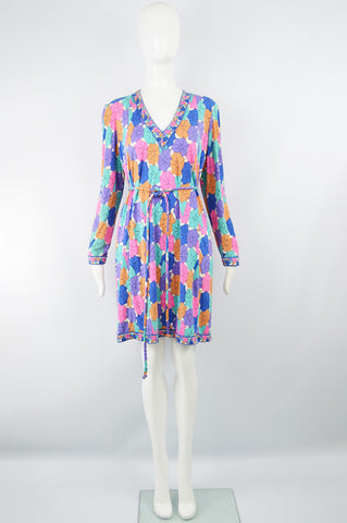 Printed Silk Jersey Vintage Dress, 1980s