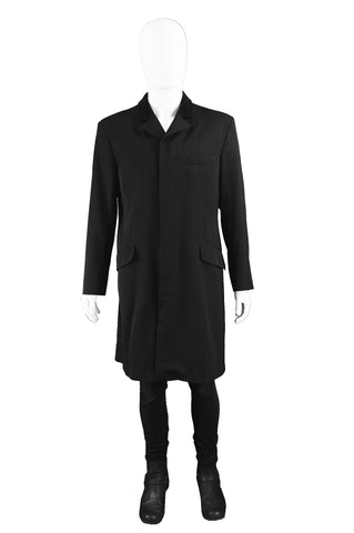 Mens Black Wool Vintage Frock Coat, 1990s