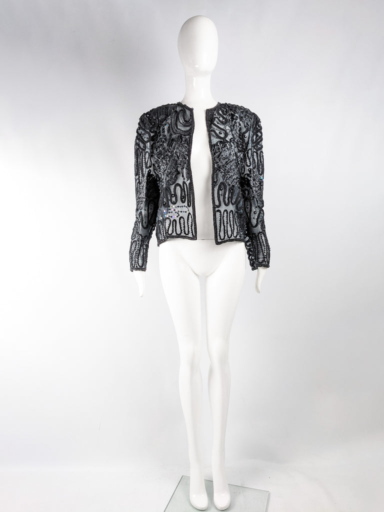 Vintage Semi Sheer Black Sequin & Beaded Jacket, 1980s