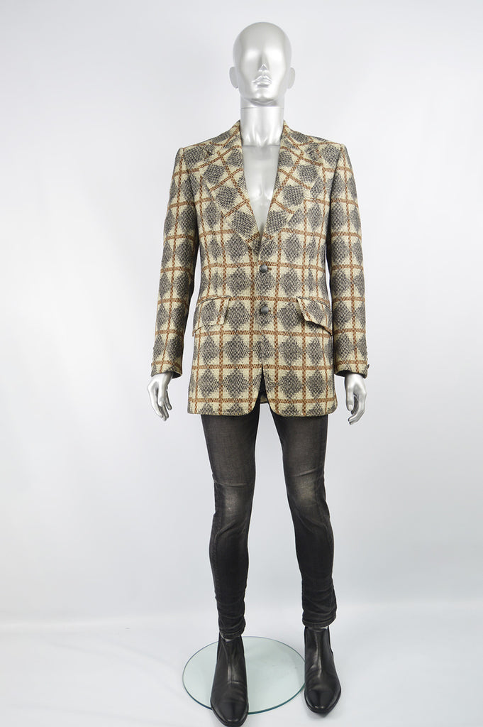 Vintage Mens Diamond & Windowpane Check Wool Sport Coat, 1970s