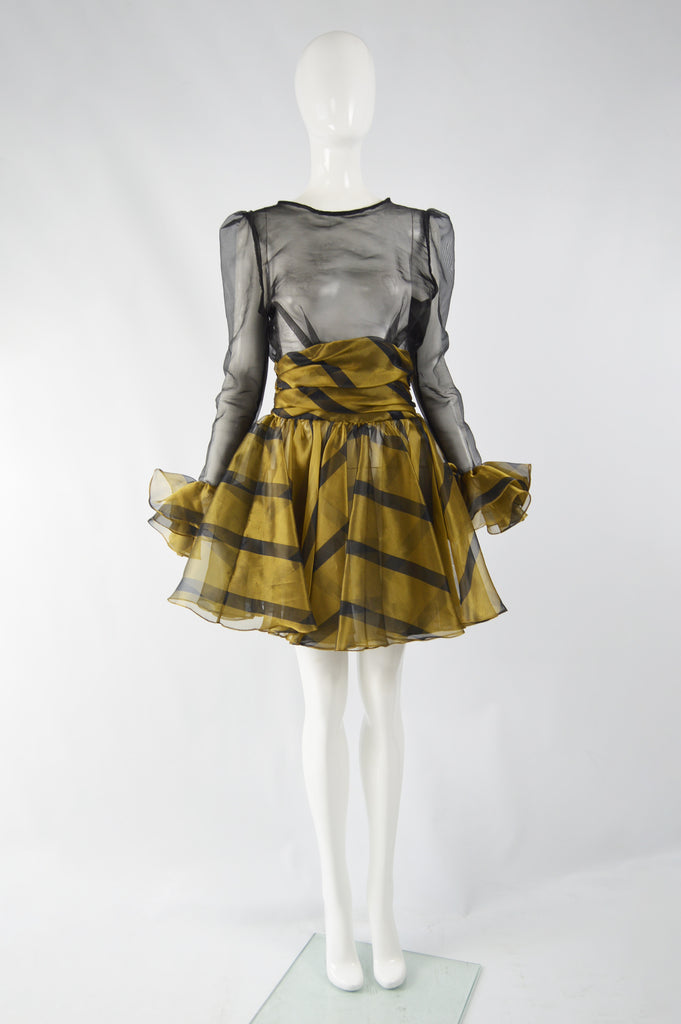 Vintage Sheer Gold & Black Ruffled Party Dress, 1980s