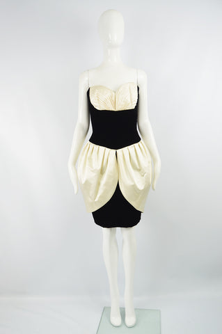 Vintage Black Velvet & Ivory Silk Satin Party Dress, 1980s