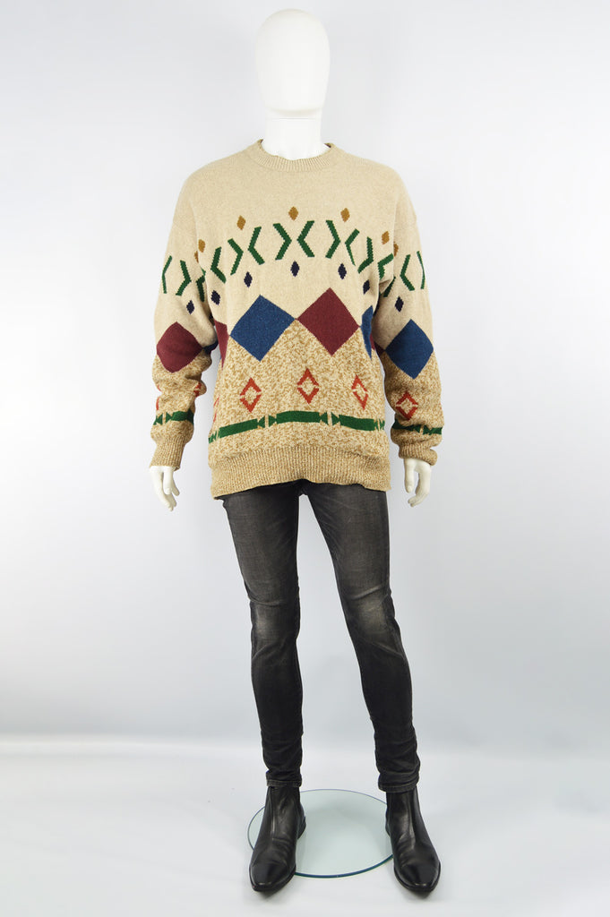 Men's Vintage Diamond Pattern Pure Italian Wool Sweater, 1990s