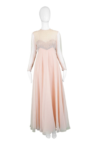Peach Vintage Chiffon Beaded Evening Gown, 1960s
