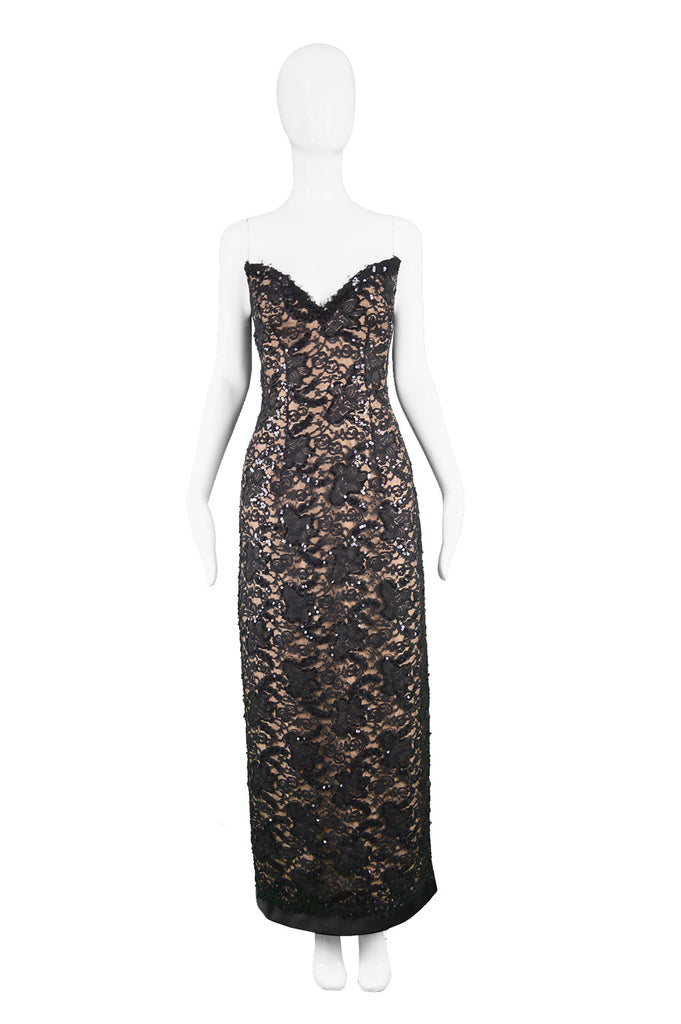 Bob Mackie Vintage Nude & Black Lace Evening Gown, 1990s