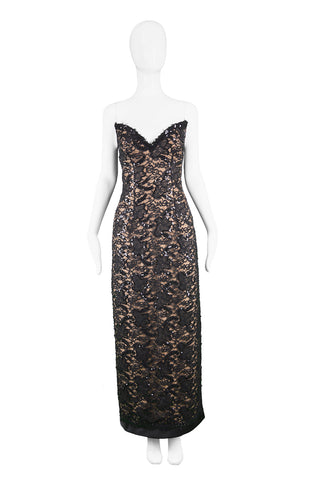 Vintage Nude & Black Lace Evening Gown, 1990s