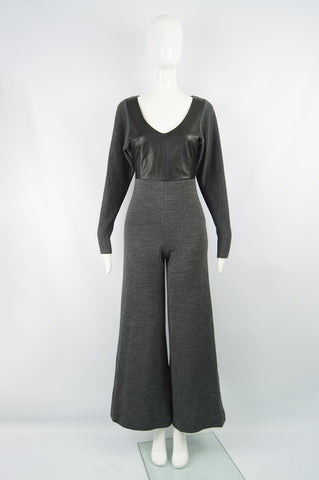 Vintage Leather & Ribbed Wool Knit Jumpsuit, 1990s