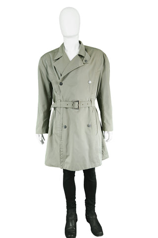 Vintage Men's Green Khaki Trenchcoat, 1980s