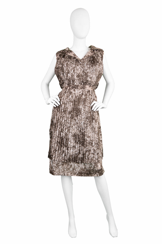 Vintage Frank Usher dress in a brown floral printed fabric, 1960s